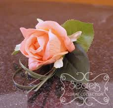 Coral Boutonniere Artificial Coral Pink Rose And And Bear Grass Boutonniere Top