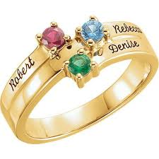 family rings for gold 1 to 4 stones names engravable ring
