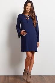 navy blue chiffon lace up bell sleeve dress
