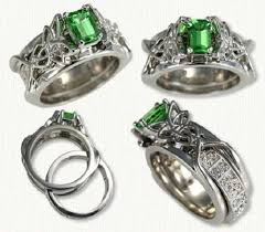 green wedding rings celtic emerald engagement rings and wedding band set with green