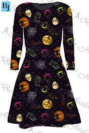 witch costume dresses ladies long sleeve halloween bats pumpkin costume womens witch