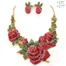 gold red rose necklace images Gold red rose flower rhinestone evening formal necklace set 8863 jpg