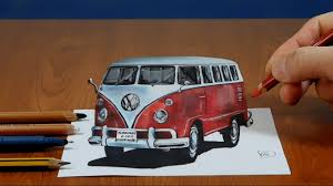 volkswagen bus painting 3d painting vw classic van visual illusion youtube