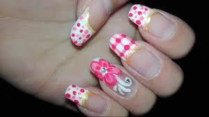 french manicure flower nail art step by step tutorial no tools