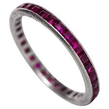 ruby eternity ring 1944 deco ruby diamond platinum eternity band engraved june