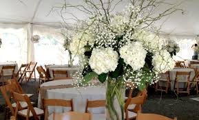hydrangea wedding centerpieces white wedding centerpiece with babys breath white hydrangea