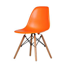 Mid Century Modern Plastic Chairs Charles Eames Dsw Side Chair Mid Century Modern Orange Plastic