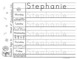 work name writing practice sign in sheets thanksgiving theme