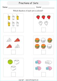 what is the colored fraction in each set of objects and shapes