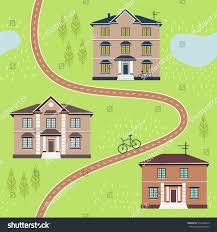 seamless pattern house on street cartoon stock vector 316148813