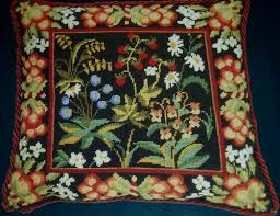 flowers needlepoint tapestry pillow kit w