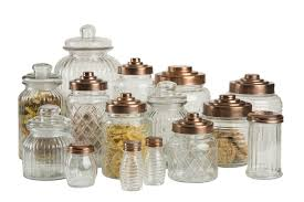 t u0026g patterned glass storage jars with copper finish lids in