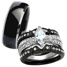 black wedding band sets ebay - Black Wedding Rings His And Hers