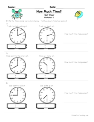 telling time half hour how much time worksheet to the half hour teaching