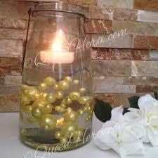 Brown Vase Fillers Floating Pearl Centerpiece Yellow Yolk Jumbo Pearls Vase Filler