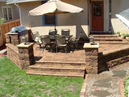 Building A Raised Patio With Retaining Wall by Exterior Cool Backyard Decoration With Paver Patio Step Paving