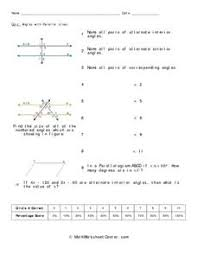 quiz angles with parallel lines 7th 8th grade worksheet