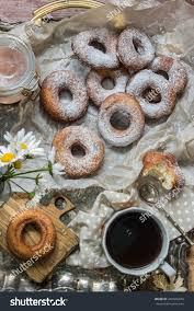 fresh powdered sugar donuts country style stock photo 443566879