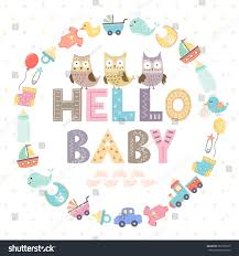 baby shower card text hello baby stock vector 587095610