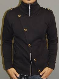 mens stylish flap mock turtle neck zip up sweater black