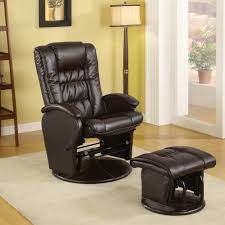 Swivel Glider Chair With Ottoman Coaster Leatherette Glider And Ottoman In Brown Walmart Com