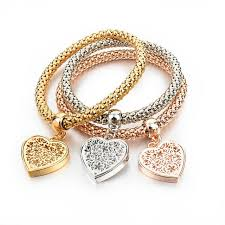gold bracelet with heart charm images Crystal heart charm bracelet jpg