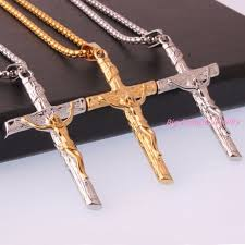 crucifix pendant necklace images Catholic church silver gold stainless steel jesus cross necklace jpg