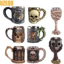 wholesale double wall stainless steel coffee mugs 3d skull mugs