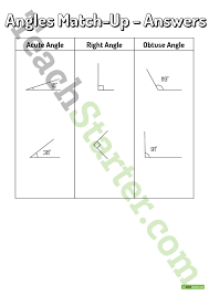 angle match up worksheet teaching resource u2013 teach starter