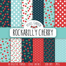 Cherry Kitchen Curtains by Rockabilly Cherry Digital Paper Pack Retro Cherry
