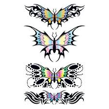 set of tribal butterfly design temporary tattoos