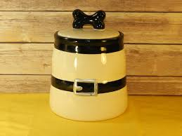 vintage dogbone ceramic kitchen canister white and black buckle