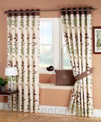 ariel green brown ready made eyelet curtains uk