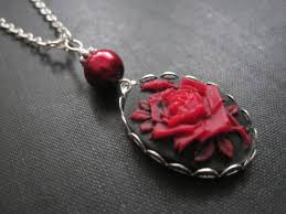 red rose necklace images Red rose cameo necklace vamps jewelry gothic victorian jewelry jpg