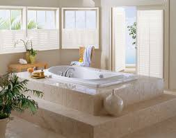 half window treatment ideas for bathroom with white wooden blinds
