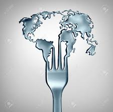 planet cuisine global food conceptand cuisine symbol as a metal fork shaped