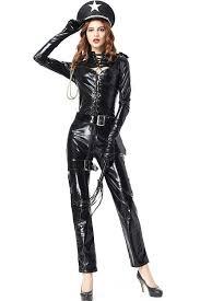 leather jumpsuit black faux leather jumpsuit policewoman costume