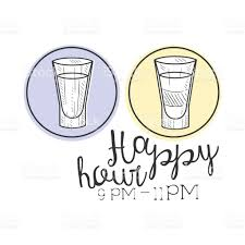 wbar happy hour promotion sign design template hand drawn hipster