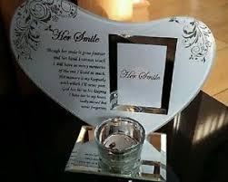 memorial tea light candle holder glass heart her smile memorial photo frame tealight tea light