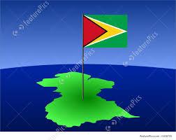 Guyana Flag Illustration Of Map Of Guyana With Flag