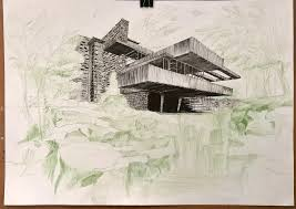 fallingwater fineliner and crayon 50x70cm art