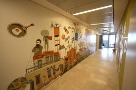 google tel aviv google office corridors illustrations eitay