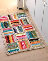 Free Crochet Patterns For Rugs Colorful Crocheted Mat Pattern Great For Using Up Scraps Of Yarns