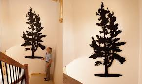wooden pine tree wall wall ideas design beige brown pine tree metal wall