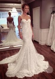 lace spaghetti strap mermaid wedding dress latest court train open