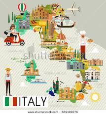 italy map map italy travel iconsitaly travel map stock vector 669558055