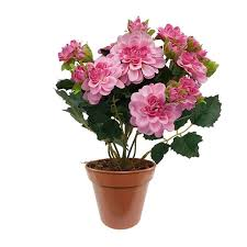 plastic flowers artificial potted dahlia bush pink real looking artificial flowers