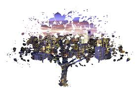 colorful skyline through this stylish tree cutout artsy office