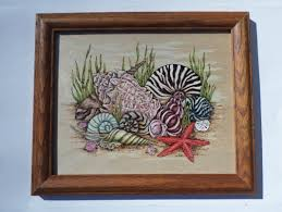 Nautical Bathroom Decor by Decorative Rustic Wooden Framed Seashell Wall Decor Bathroom For