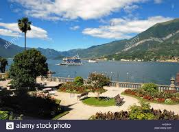 lake como italy and the mountains seen from the garden of the